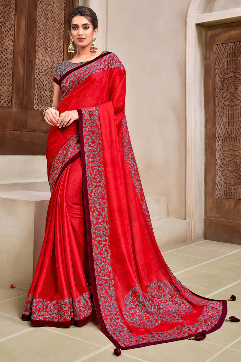 Trendy Sangeet Wear Saree In Red Color Georgette Silk Fabric