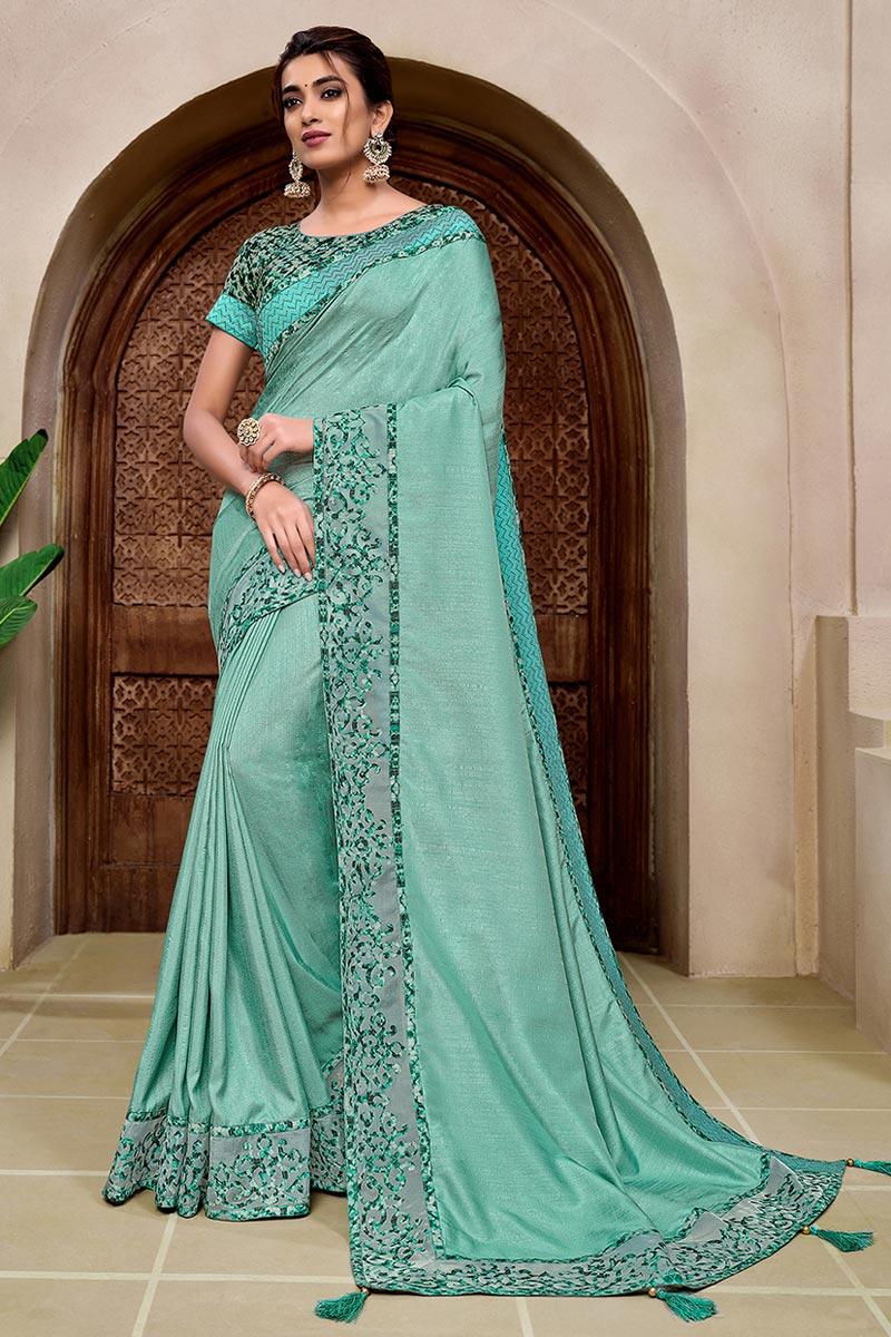 Sea Green Art Silk Fabric Designer Wedding Wear Saree