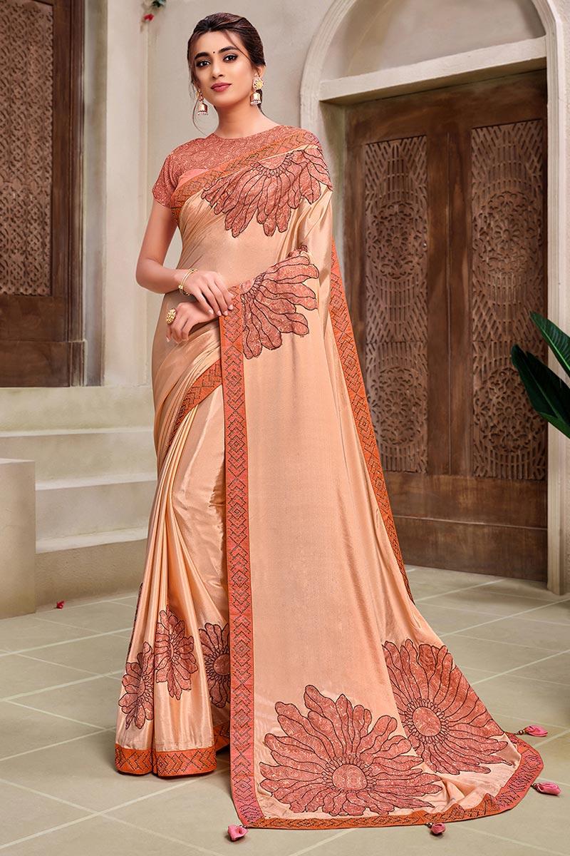 Peach Color Georgette Silk Fancy Reception Wear Saree