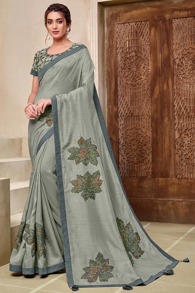 Grey Art Silk Stylish Sangeet Wear Saree