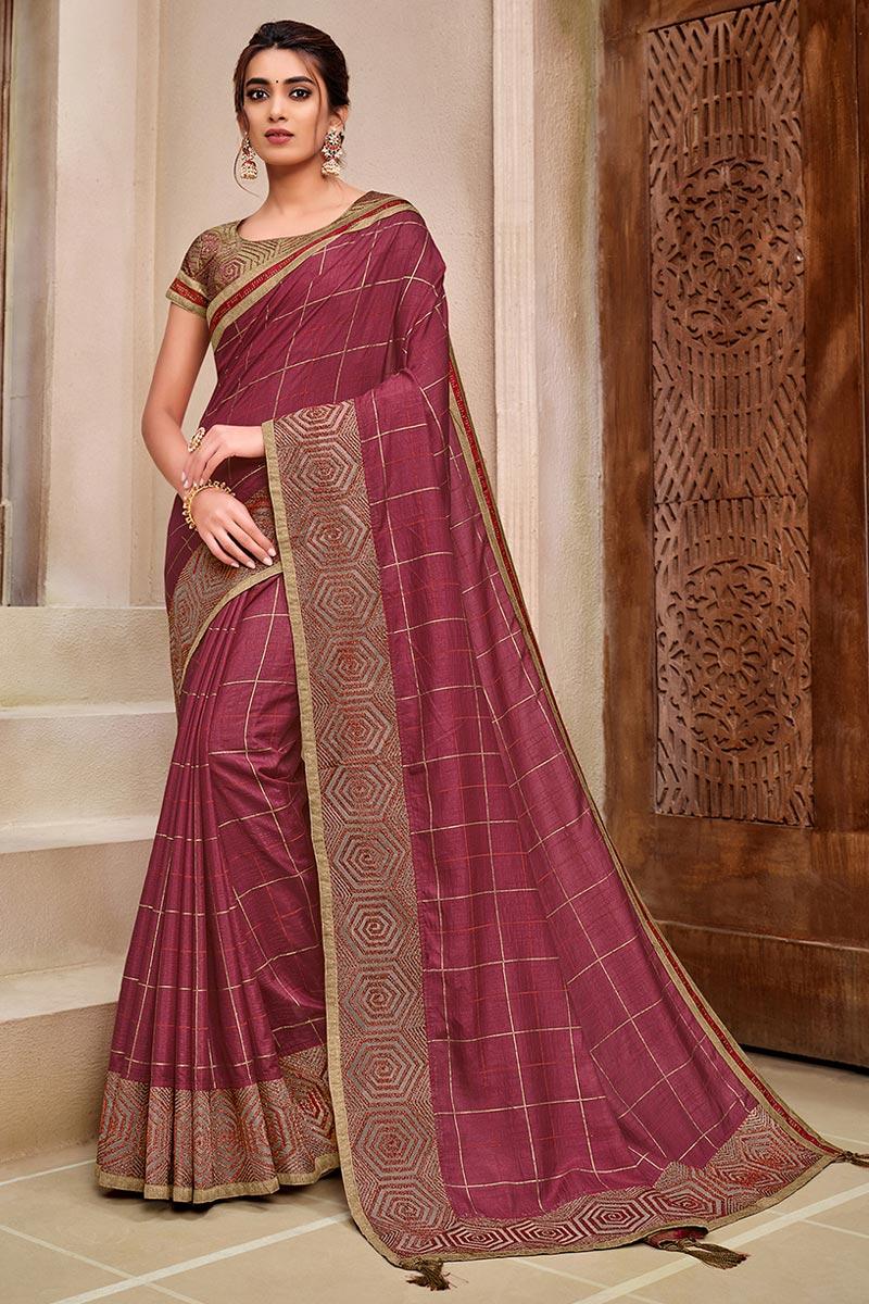 Art Silk Fabric Pink Color Trendy Wedding Wear Saree