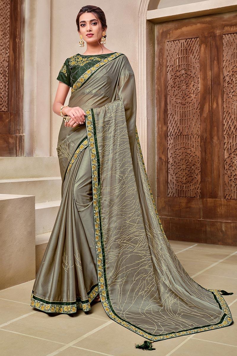 Designer Dark Beige Color Georgette Silk Fabric Reception Wear Saree
