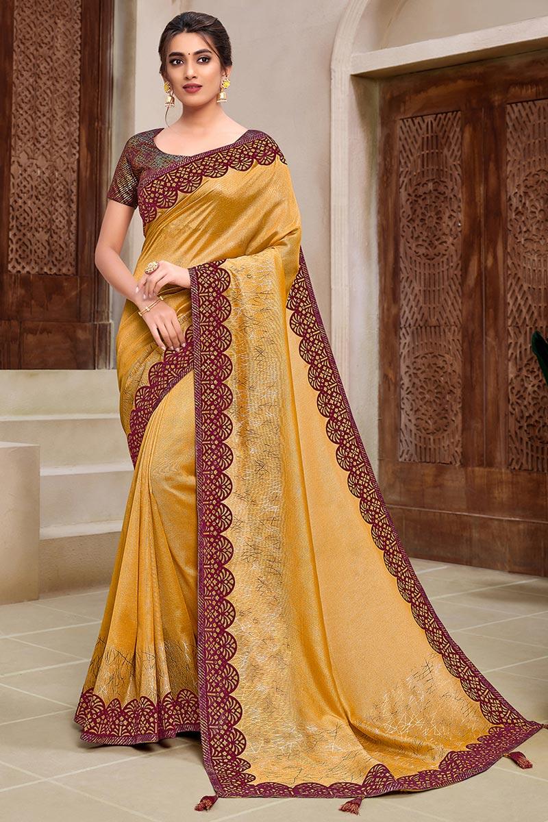 Georgette Silk Stylish Sangeet Wear Saree