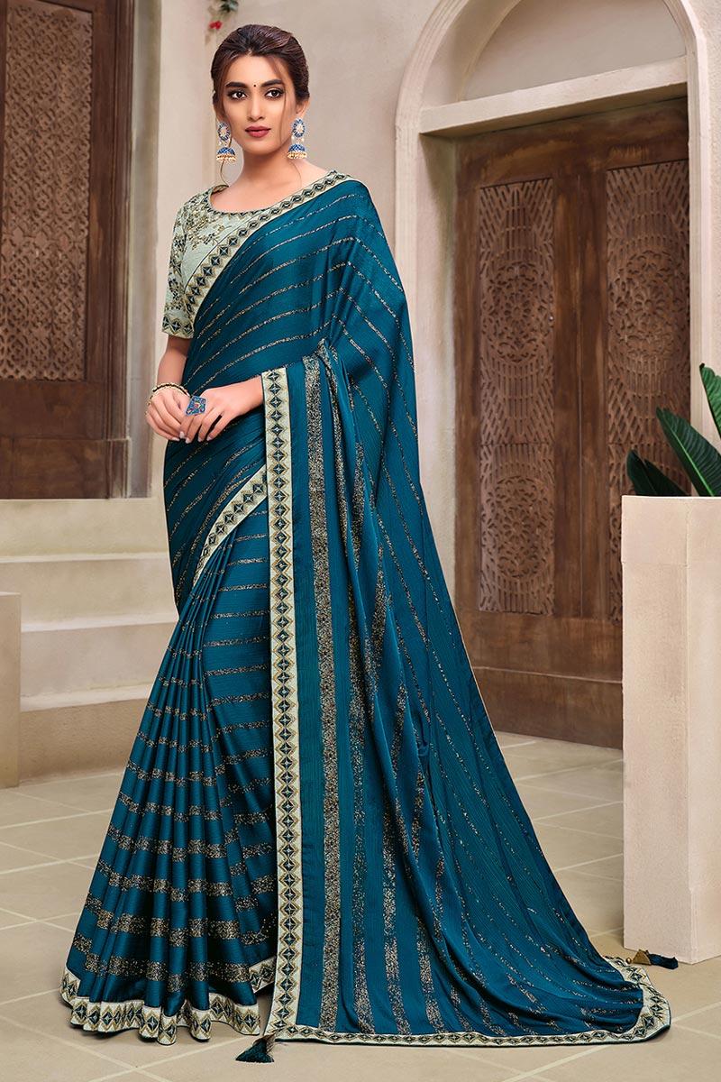 Chiffon Fabric Trendy Wedding Wear Saree