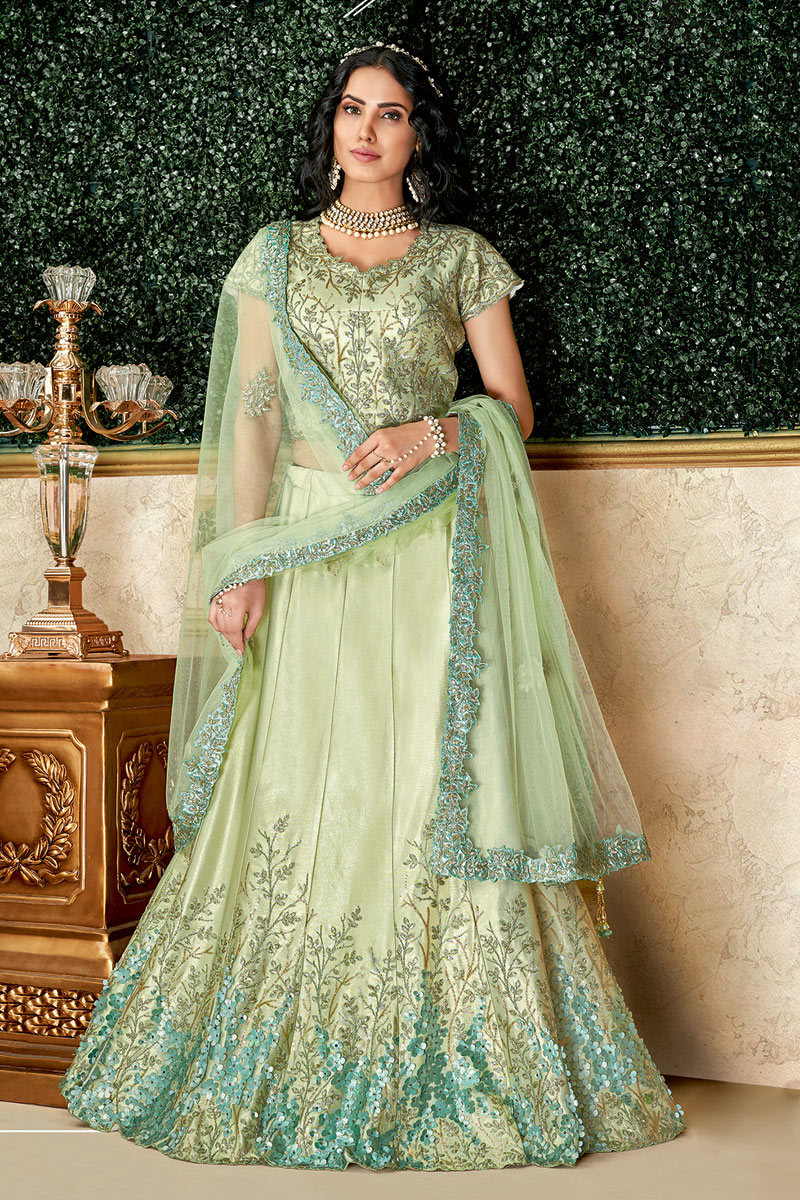 Art Silk Fabric Sea Green Color Reception Wear Lehenga Choli With Embroidery Work