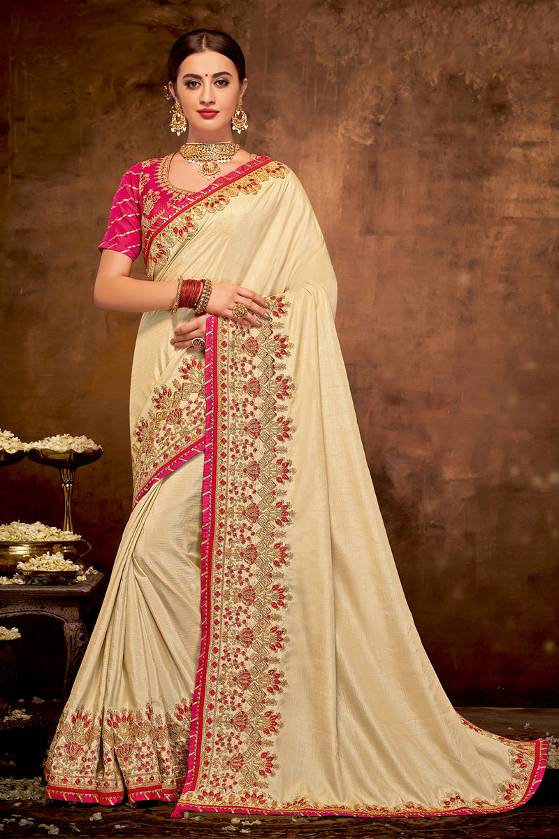 Beige Color Satin Silk Fabric Embroidered Party Wear Saree With Designer Blouse