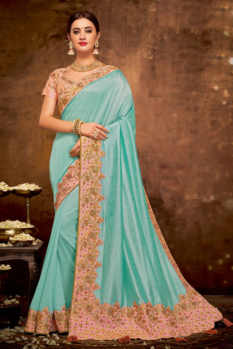 Embroidery Work On Georgette Silk Fabric Cyan Color Function Wear Saree With Enigmatic Blouse