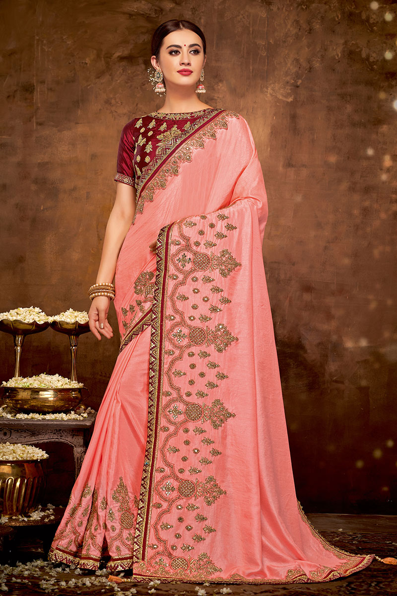 Pink Color Georgette Silk Fabric Party Wear Saree With Embroidered Designs And Tempting Blouse