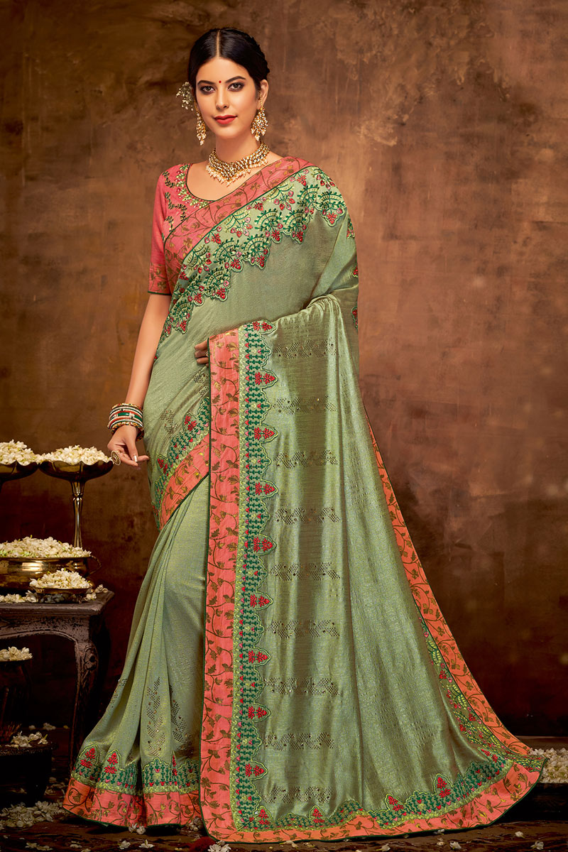 Embroidery Work On Georgette Silk Fabric Designer Saree In Green Color With Attractive Blouse