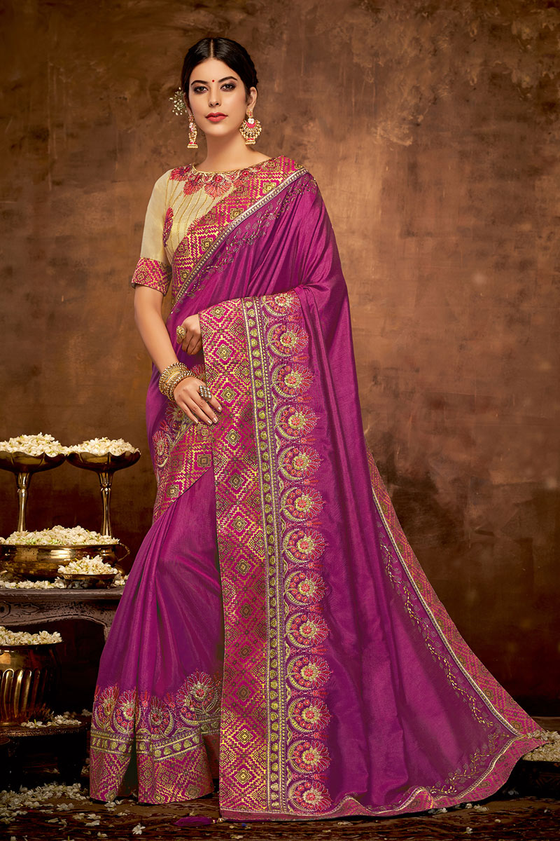 Magenta Color Party Wear Saree In Satin Silk Fabric With Embroidery Work And Designer Blouse