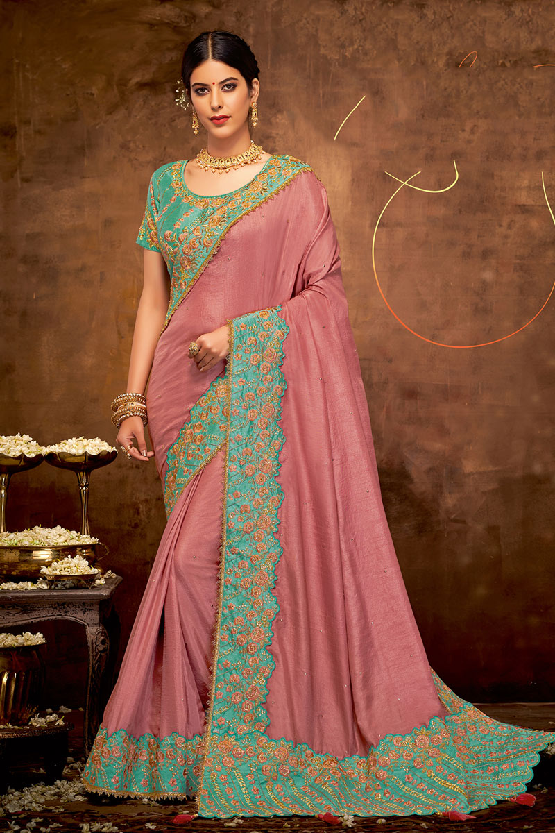 Pink Color Georgette Silk Fabric Occasion Wear Saree With Embroidery Work And Mesmeric Blouse