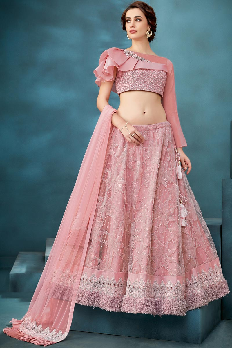Pink Color Function Wear Net Fabric Embroidered Traditional Lehenga