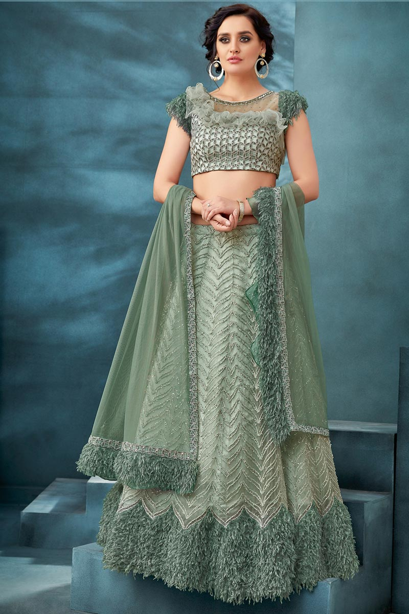Sea Green Color Function Wear Net Fabric Embroidered Traditional Lehenga