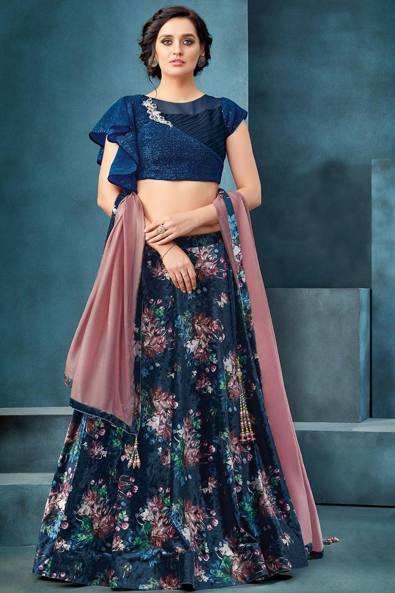 Function Wear Velvet Fabric Embroidered Navy Blue Color Traditional Lehenga Choli
