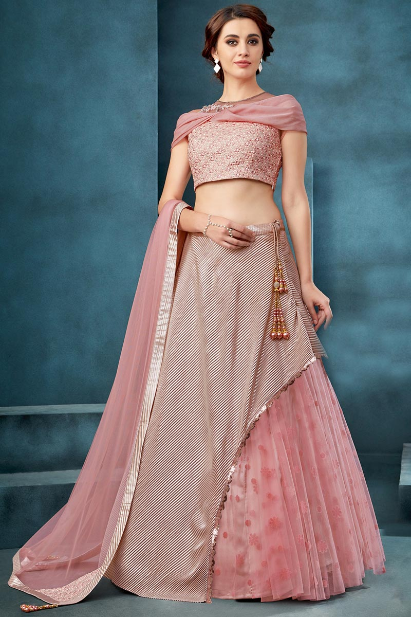 Net Fabric Function Wear Traditional Embroidered Pink Color Lehenga