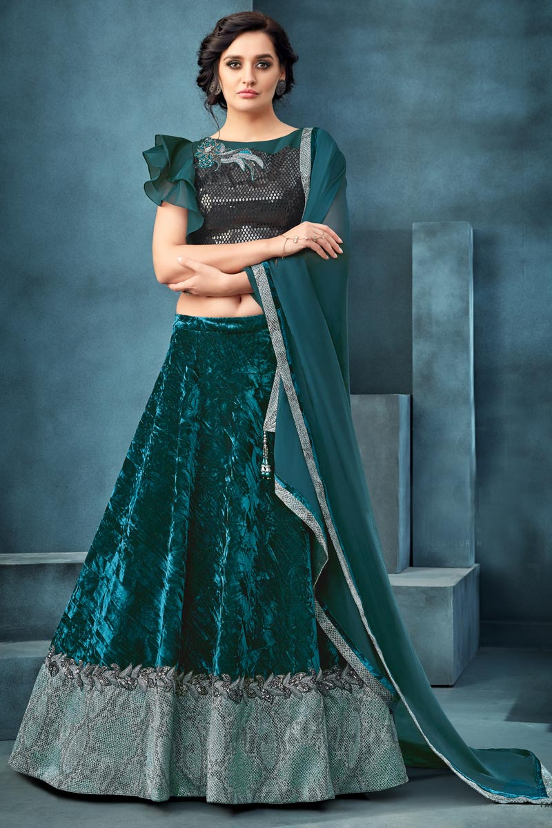 Velvet Fabric Function Wear Traditional Embroidered Teal Color Lehenga