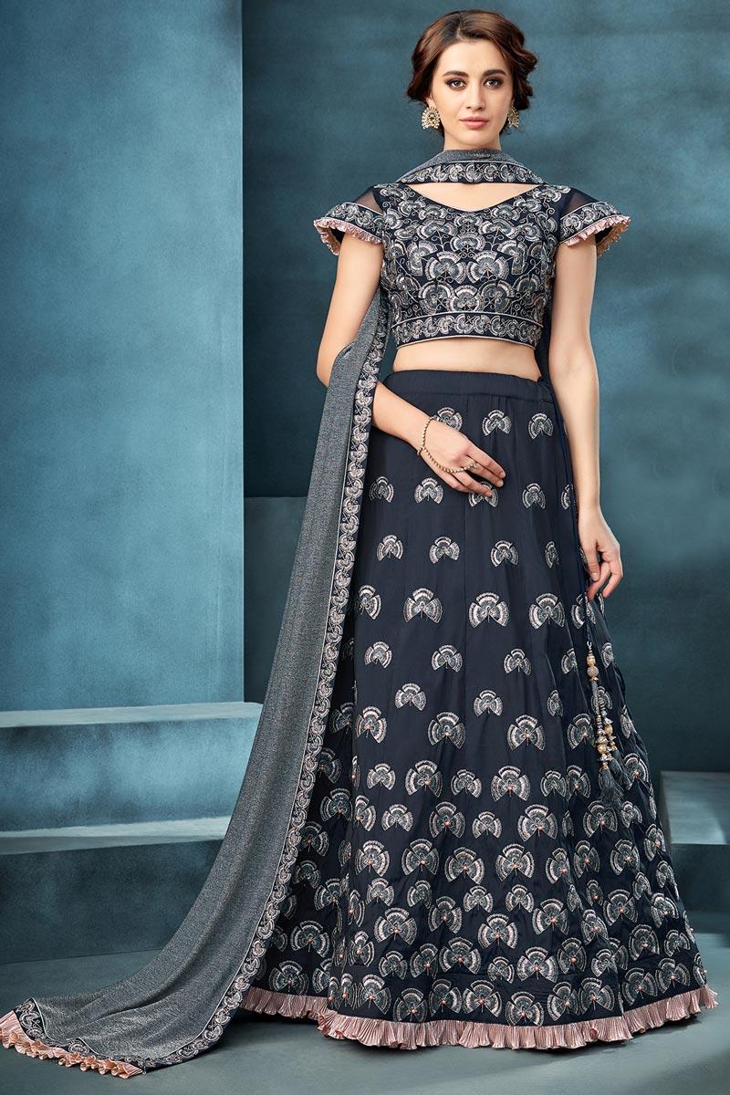 Taffeta Silk Fabric Function Wear Navy Blue Color Embroidered Traditional Lehenga