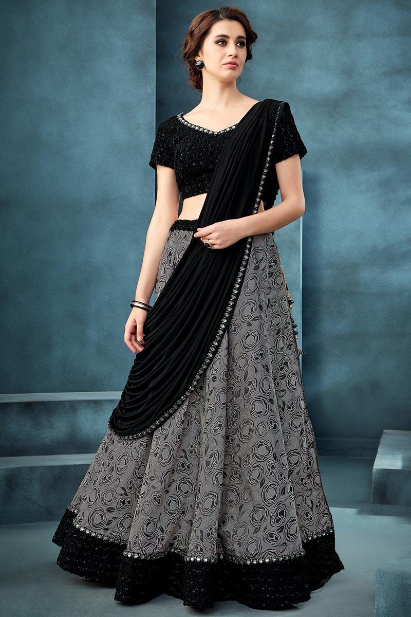 Function Wear Grey Color Embroidered Jacquard Fabric Traditional Lehenga Choli
