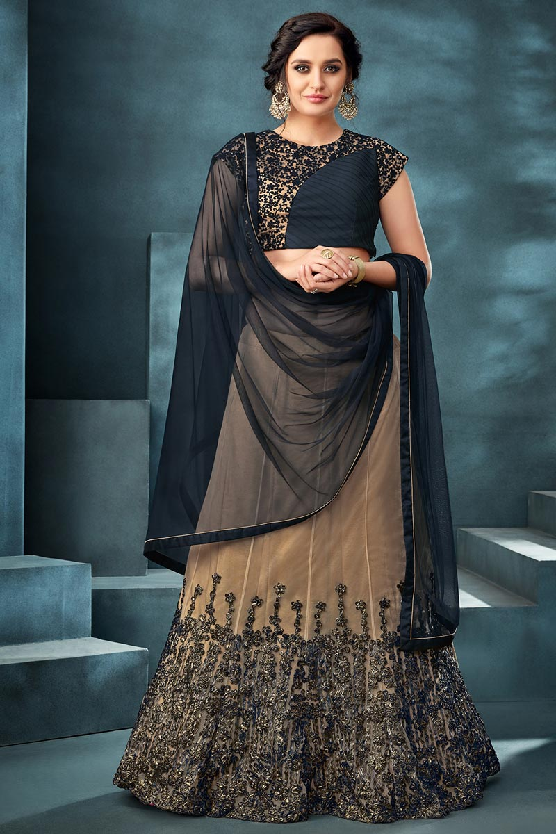 Beige Color Function Wear Traditional Embroidered Net Fabric Lehenga
