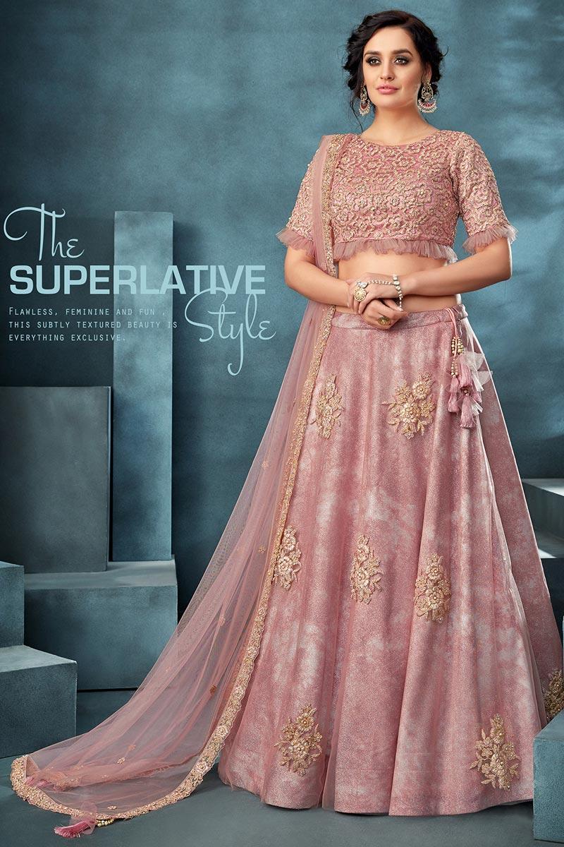 Traditional Embroidered Pink Color Sangeet Wear Net Fabric Lehenga Choli