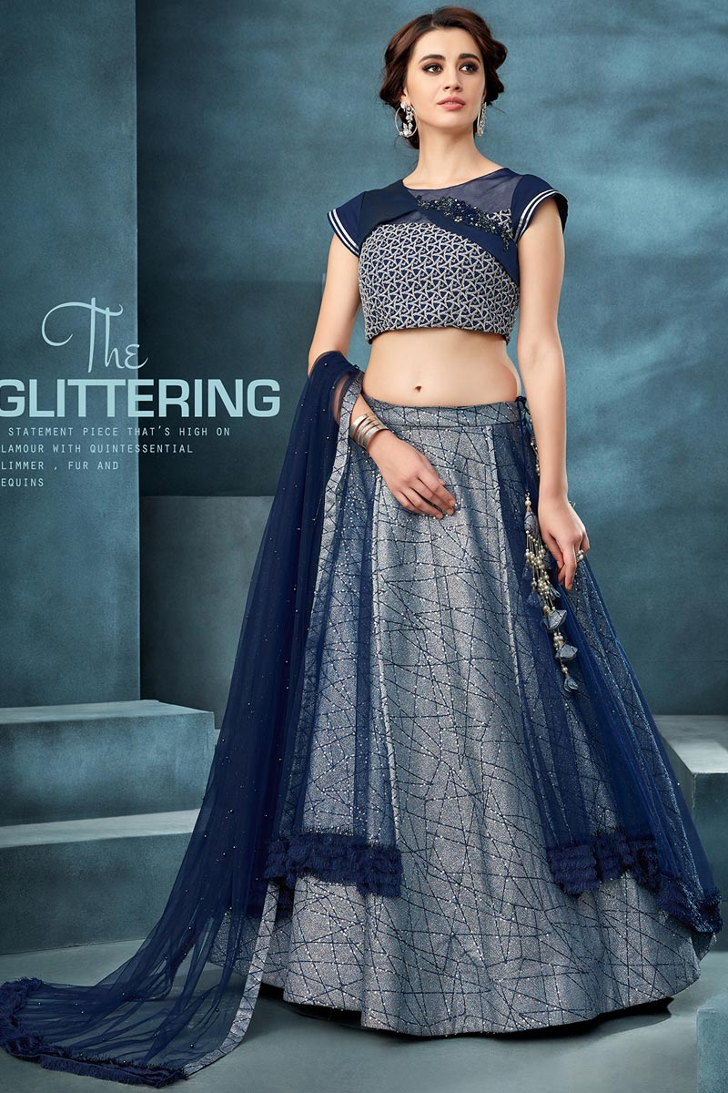 Traditional Embroidered Blue Color Sangeet Wear Net Fabric Lehenga Choli
