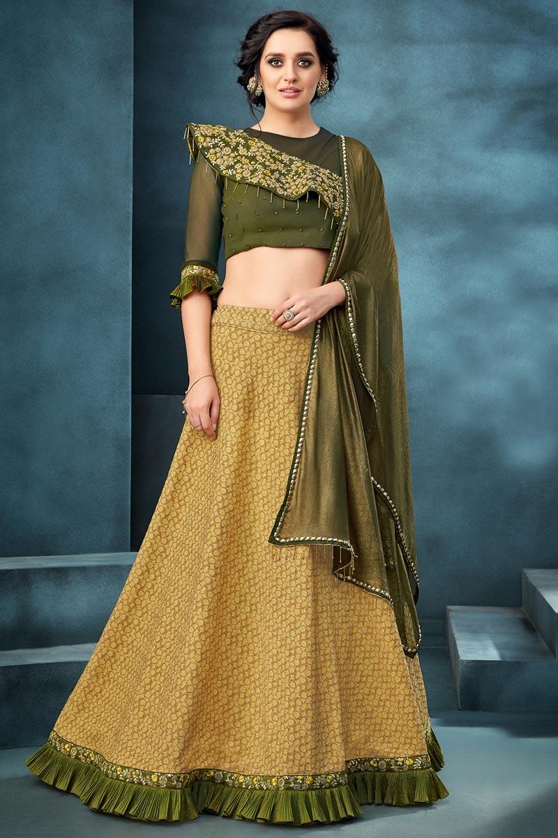 Sangeet Wear Jacquard Fabric Embroidered Yellow Color Traditional Lehenga Choli