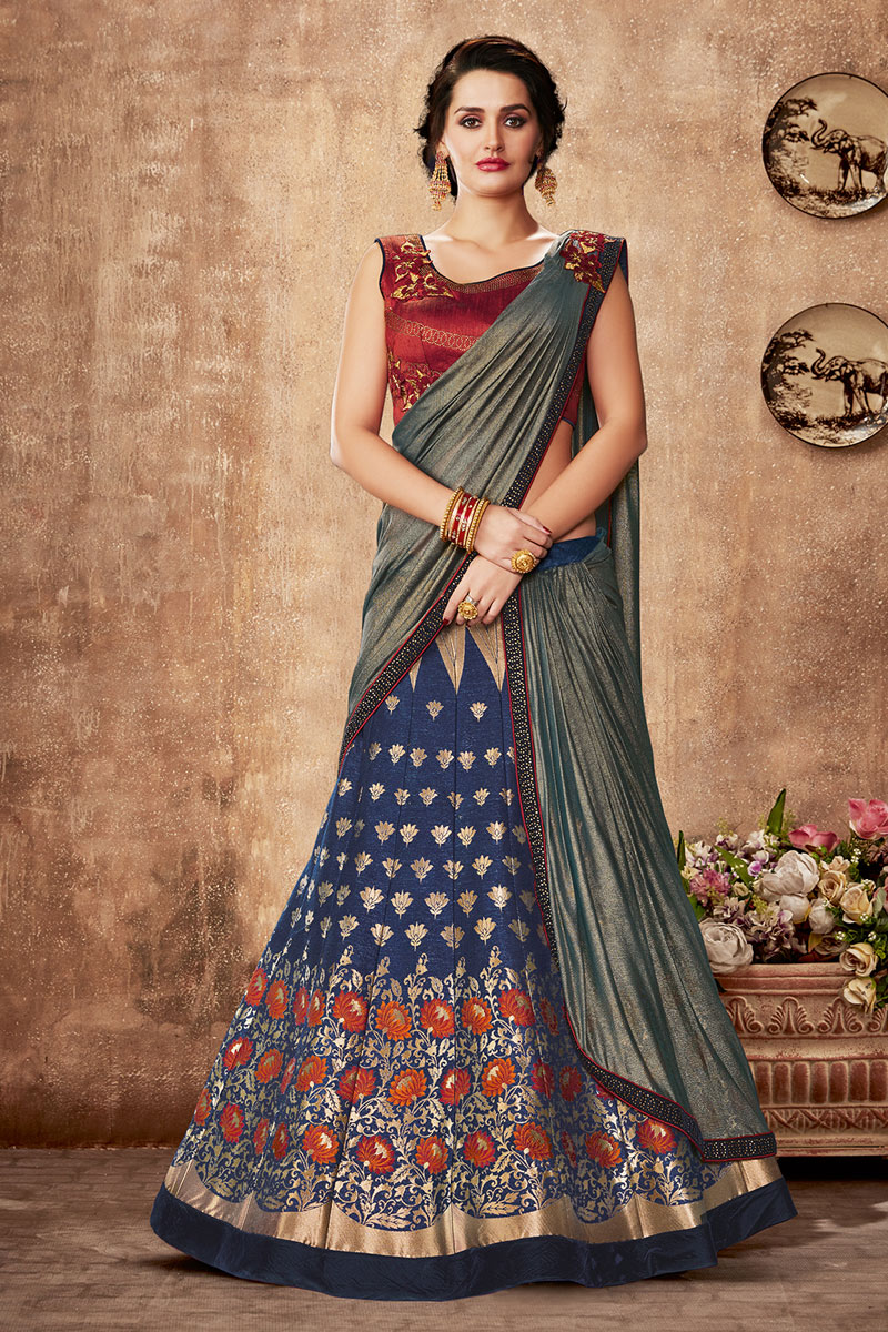 Navy Blue Color Art Silk Fabric Occasion Wear Lehenga Choli With Embroidery Work