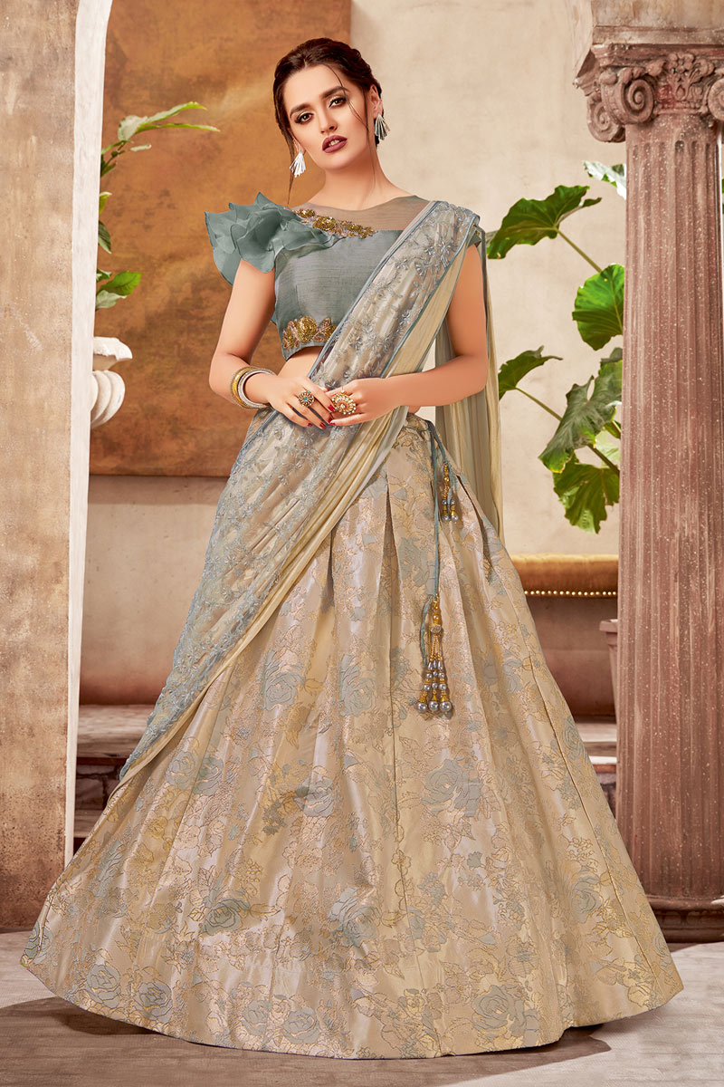 Eid Special Jacquard Fabric Chikoo Color Designer 3 Piece Lehenga Choli With Embroidery Designs