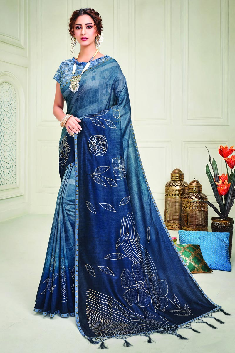 Art Silk Fabric Party Style Classy Printed Saree In Blue Color