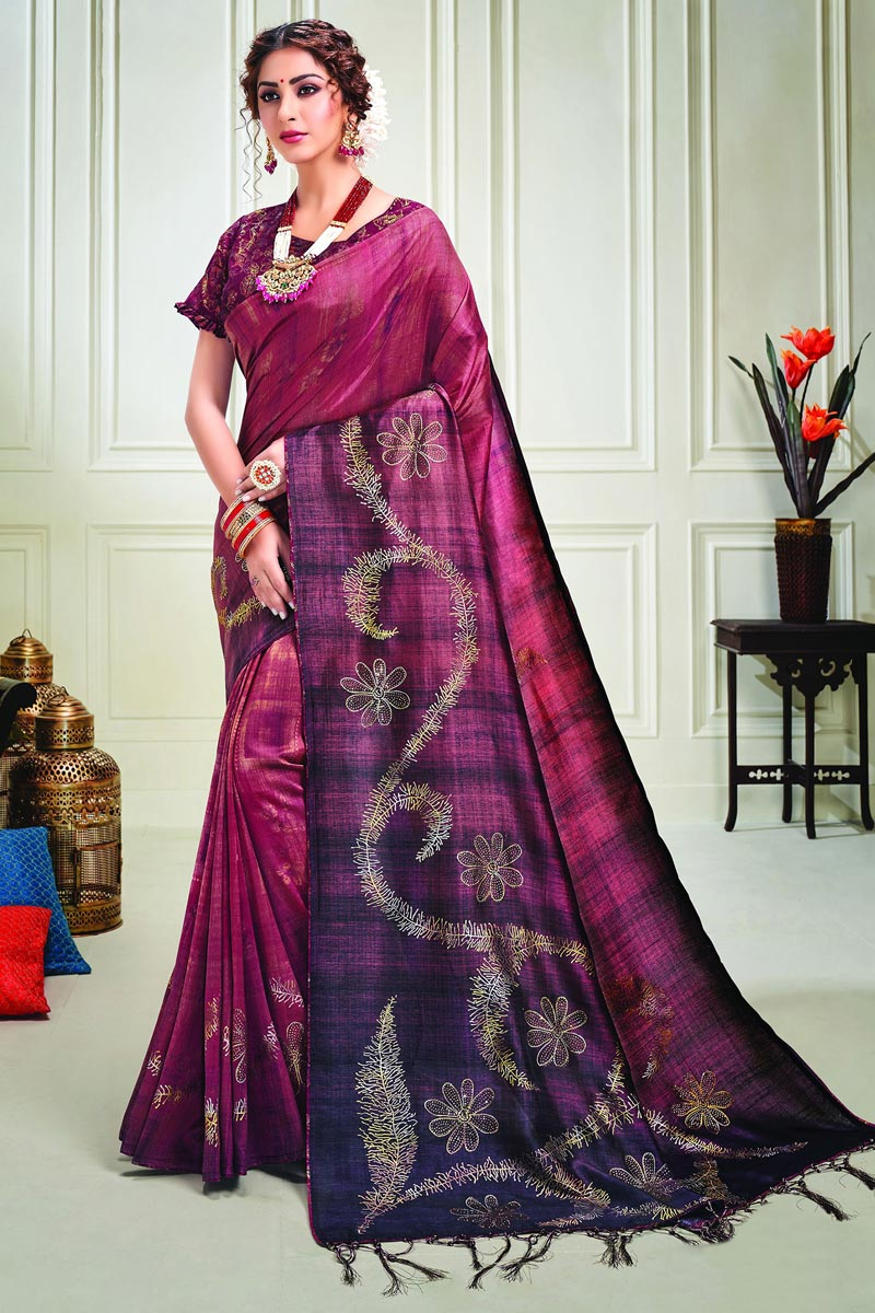 Wine Color Classy Party Style Art Silk Fabric Printed Saree