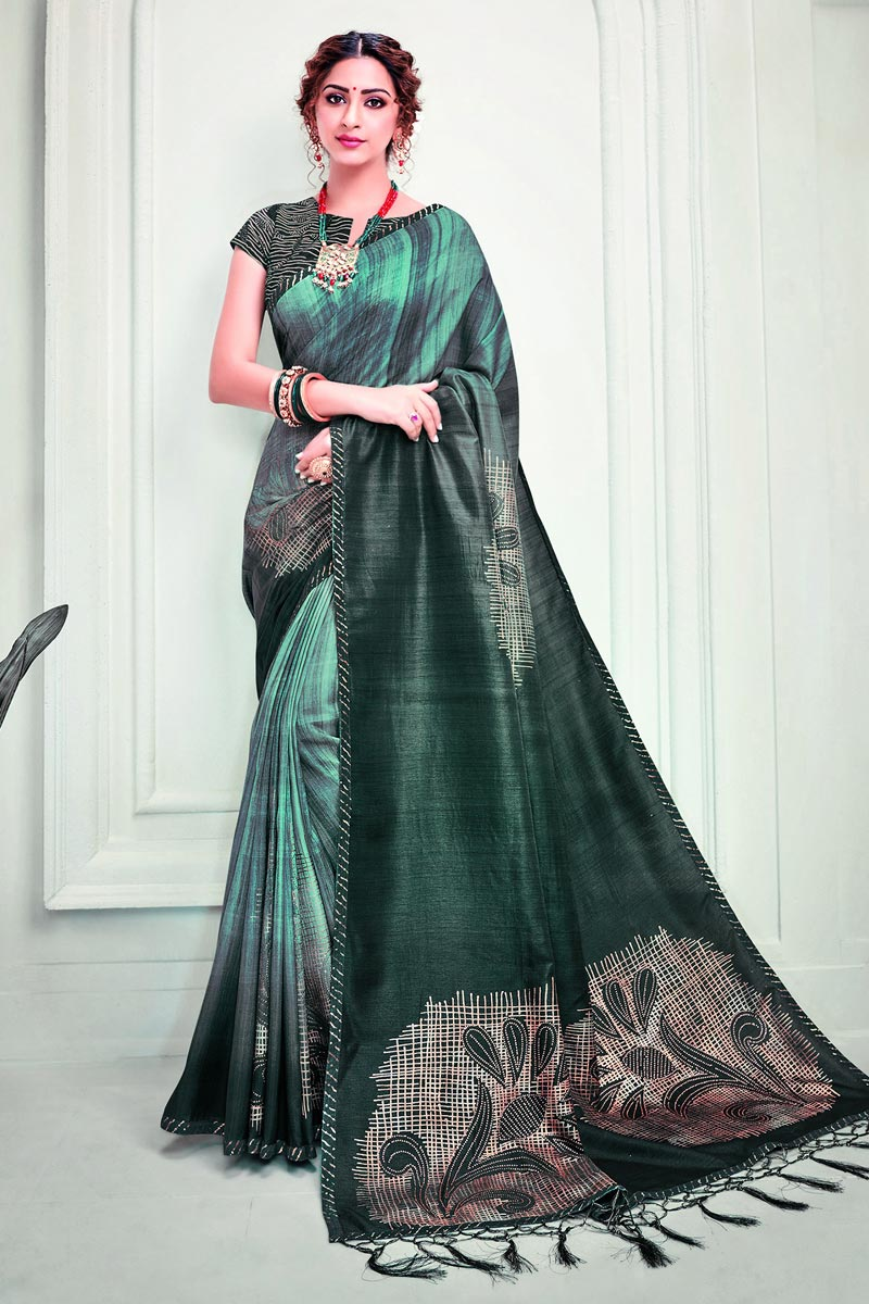 Party Style Green Color Classy Printed Saree In Art Silk Fabric