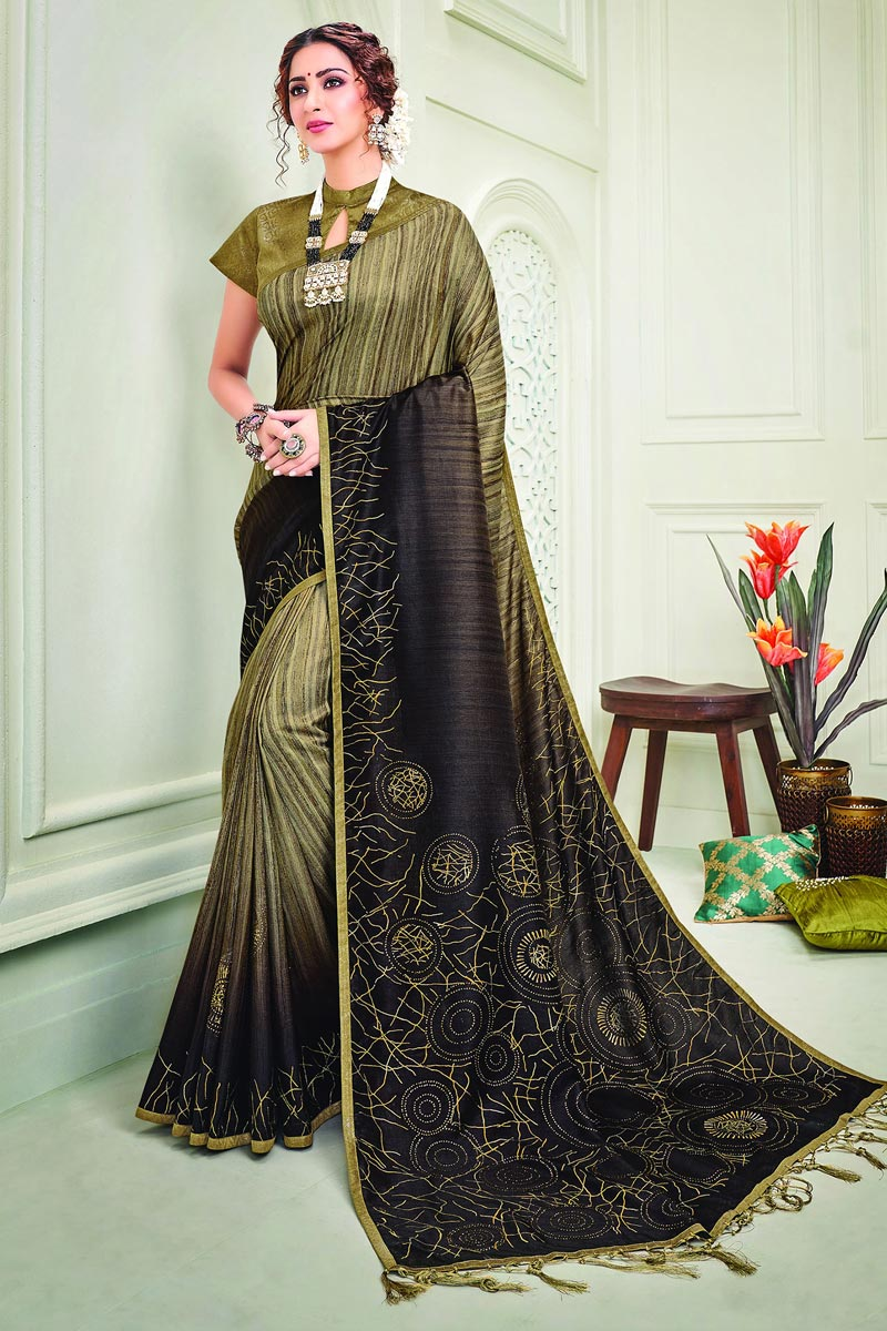 Party Style Art Silk Fabric Classy Brown Color Printed Saree