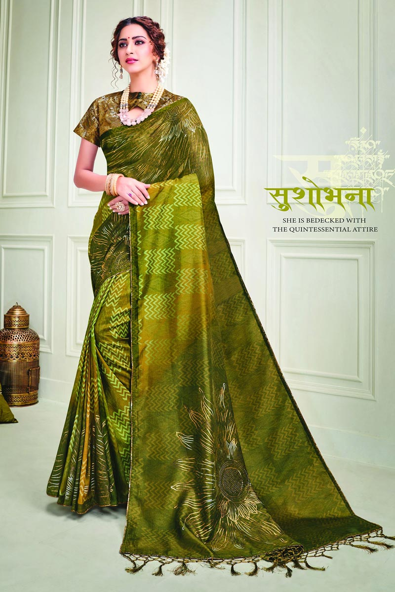 Party Style Art Silk Fabric Classy Mehendi Green Color Printed Saree