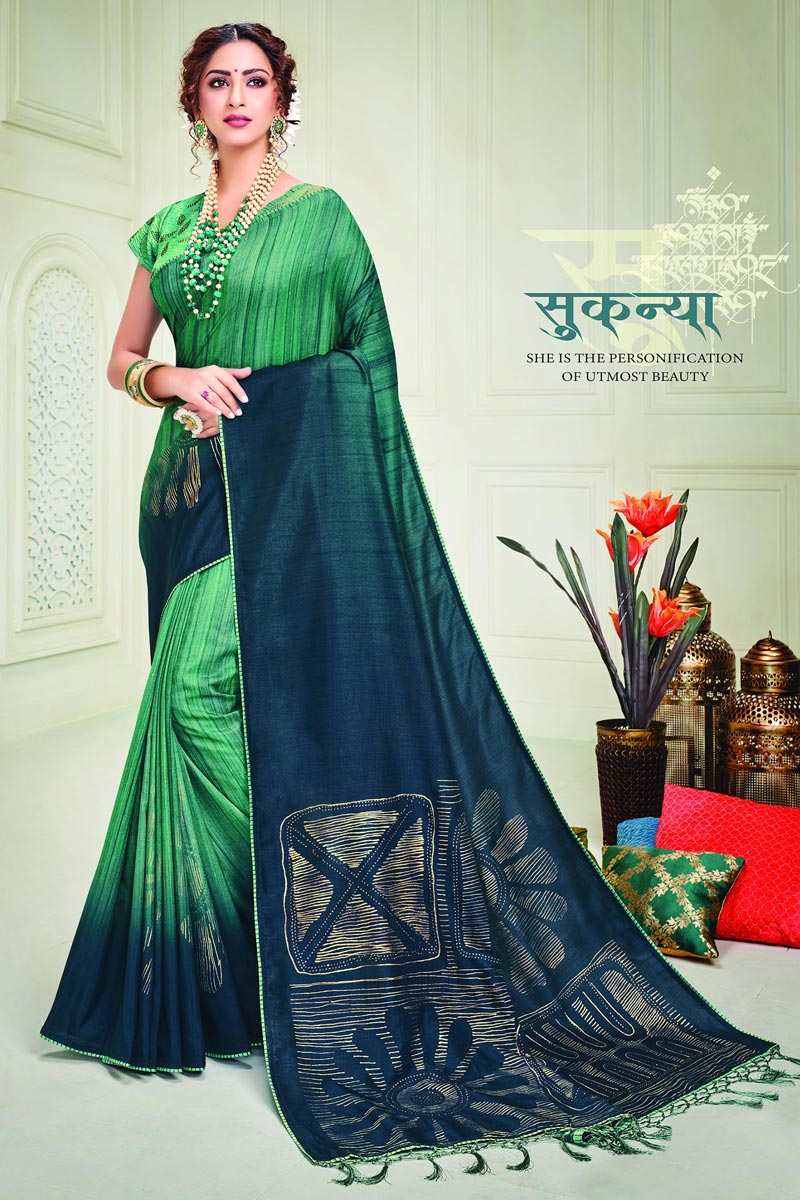Sea Green Color Party Style Classy Printed Saree In Art Silk Fabric