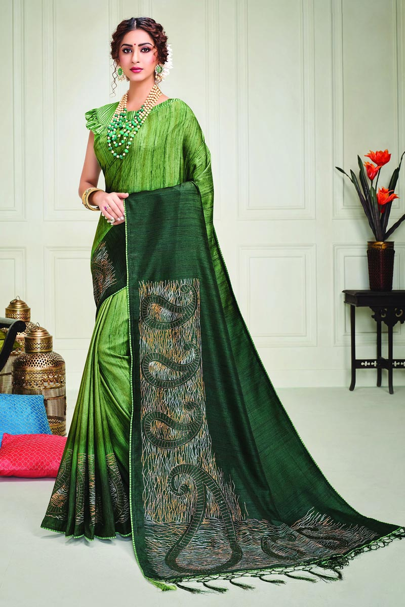 Art Silk Fabric Classy Party Style Green Color Printed Saree