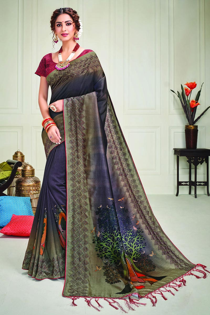Purple Color Party Style Art Silk Fabric Classy Printed Saree