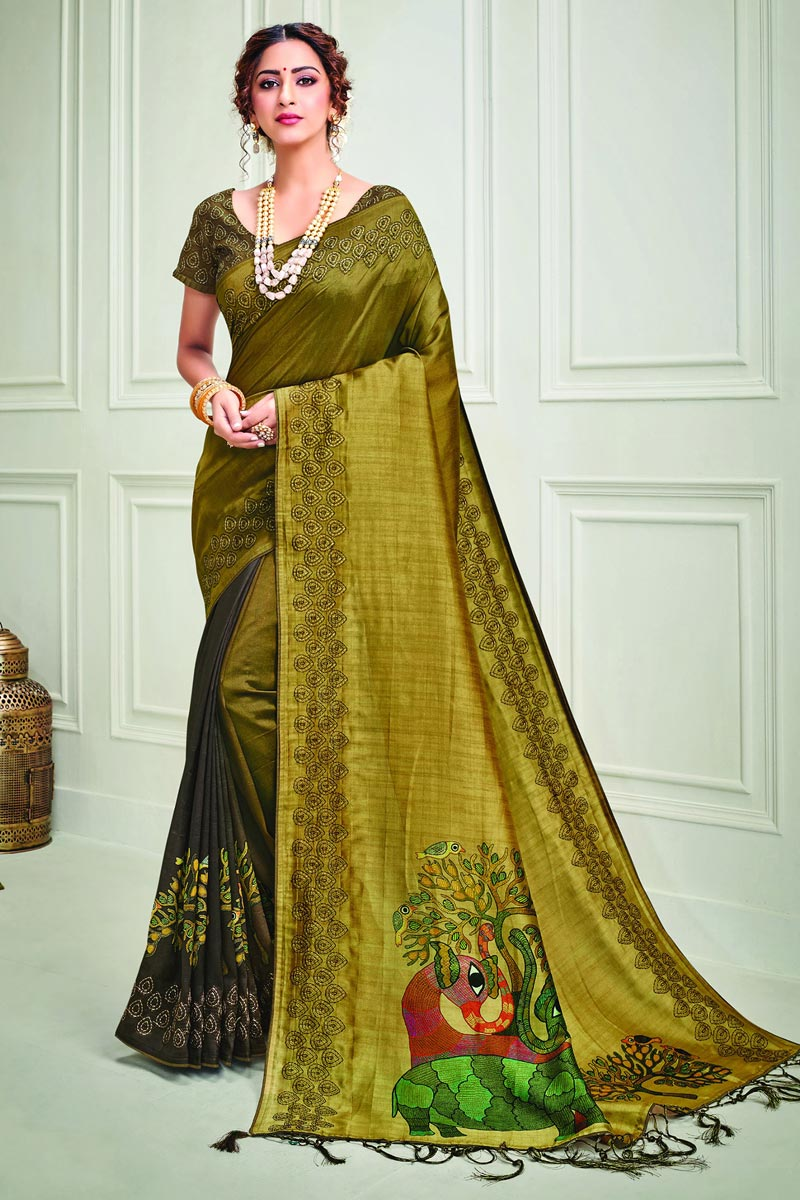 Art Silk Fabric Party Style Classy Mustard Color Printed Saree