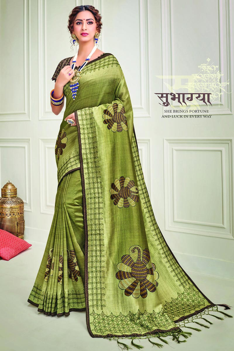 Party Style Green Color Classy Art Silk Fabric Printed Saree