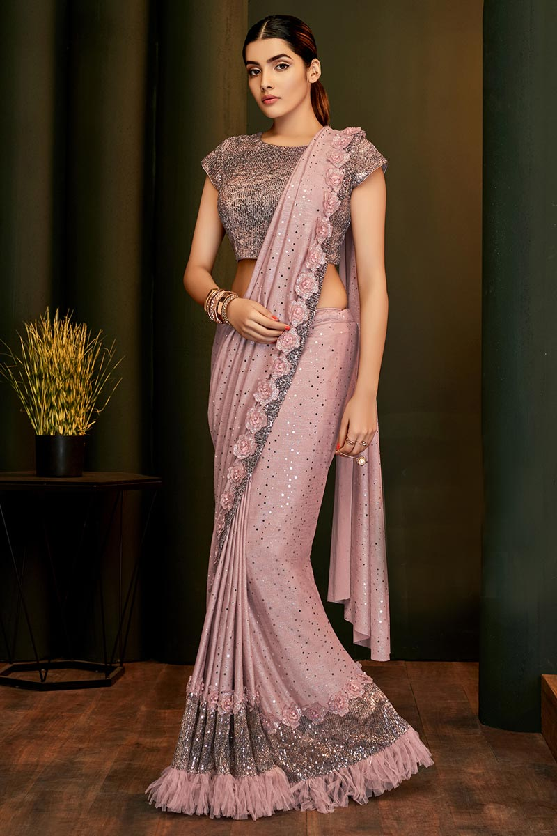 Lycra Fabric Party Wear Designer Pink Color One Minute Saree