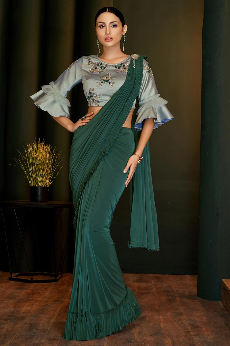 Party Wear Lycra Fabric Designer One Minute Saree In Teal Color