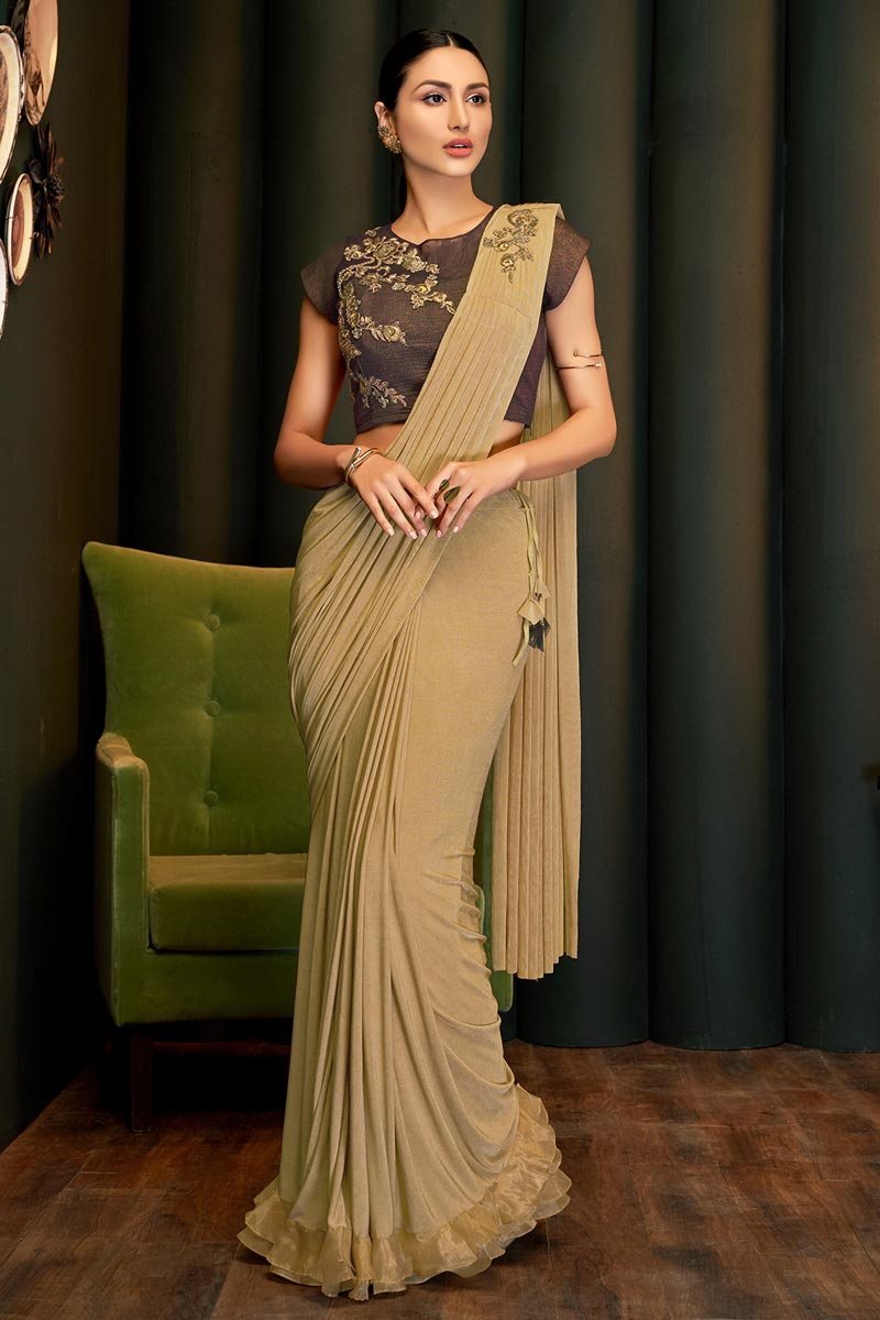 Lycra Fabric Party Wear Designer Beige Color Ready To Wear Saree