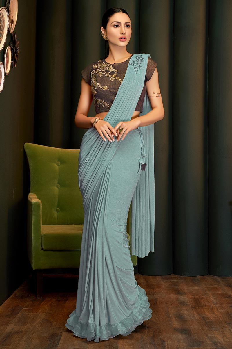 Party Wear Lycra Fabric Designer One Minute Saree In Cyan Color