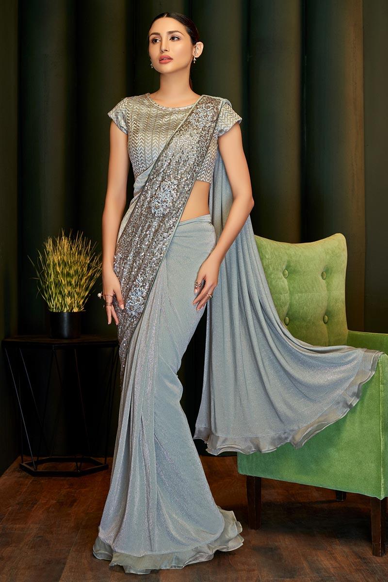 Lycra Fabric Party Wear Designer Grey Color Ready To Wear Saree
