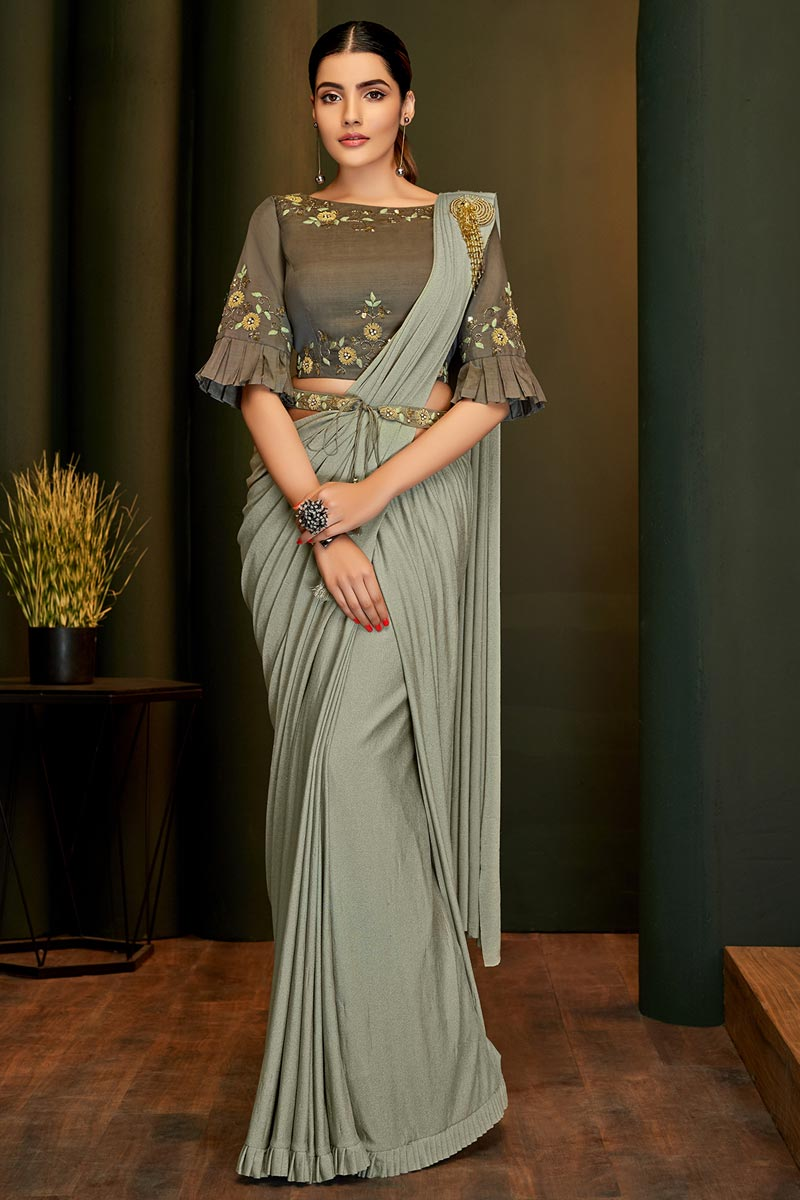 Grey Color Party Wear Designer Lycra Fabric Ready To Wear Saree