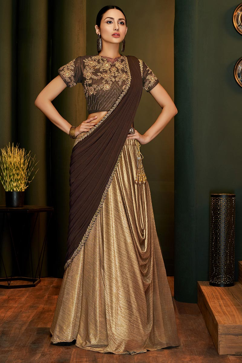 Lycra Fabric Party Style Designer Beige Color One Minute Saree