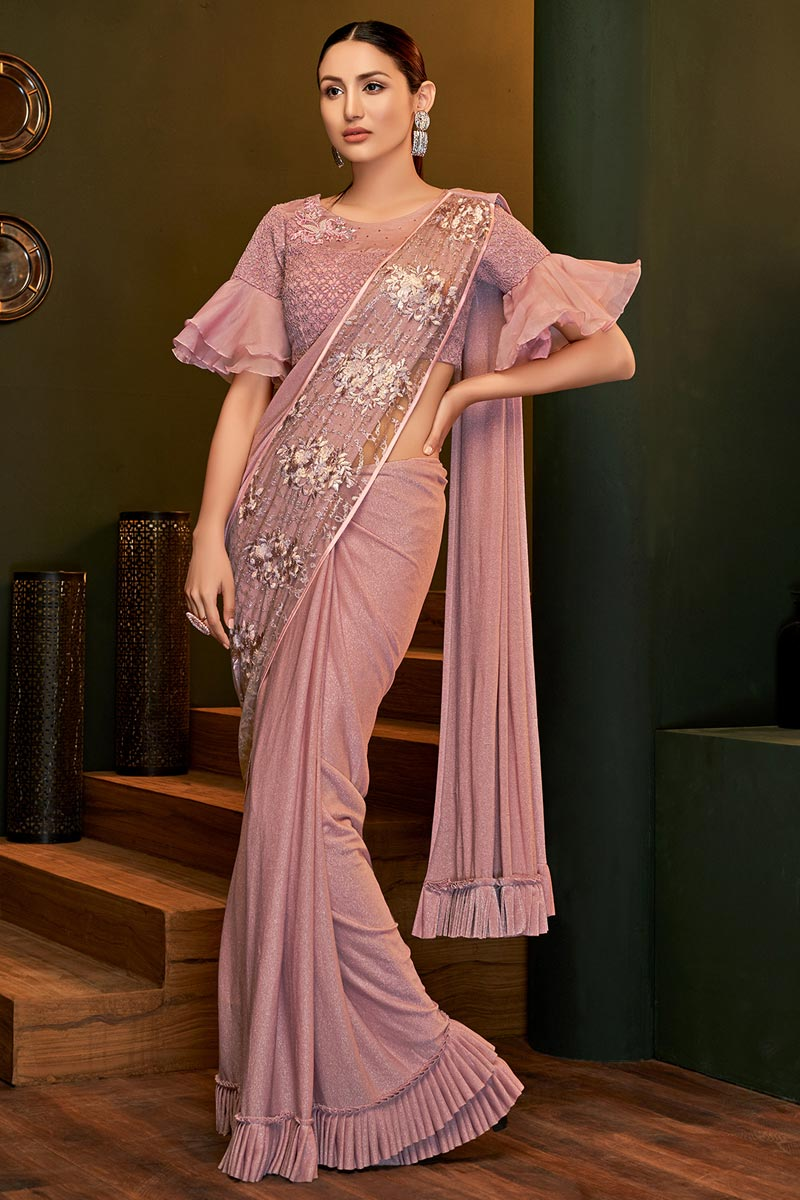 Party Style Lycra Fabric Designer Ready To Wear Saree In Pink Color