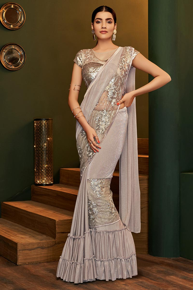 Lycra Fabric Party Style Designer Cream Color One Minute Saree
