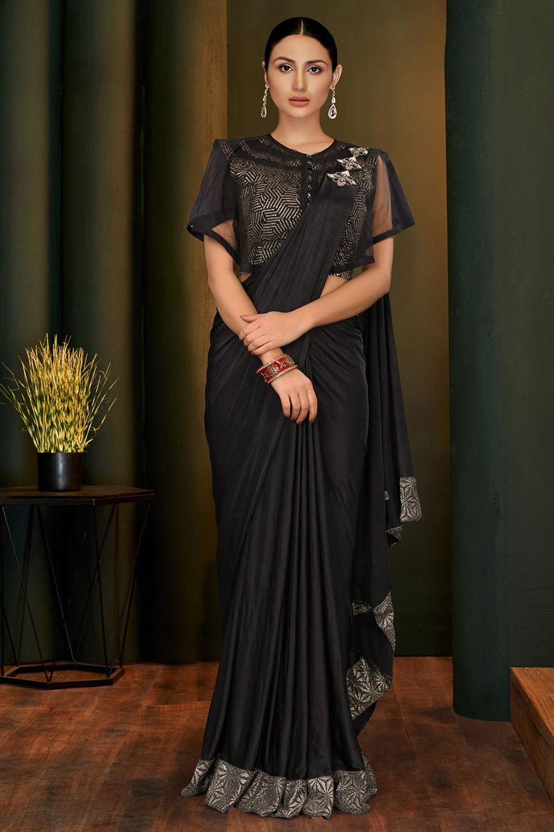 Black Color Party Style Designer Lycra Fabric One Minute Saree