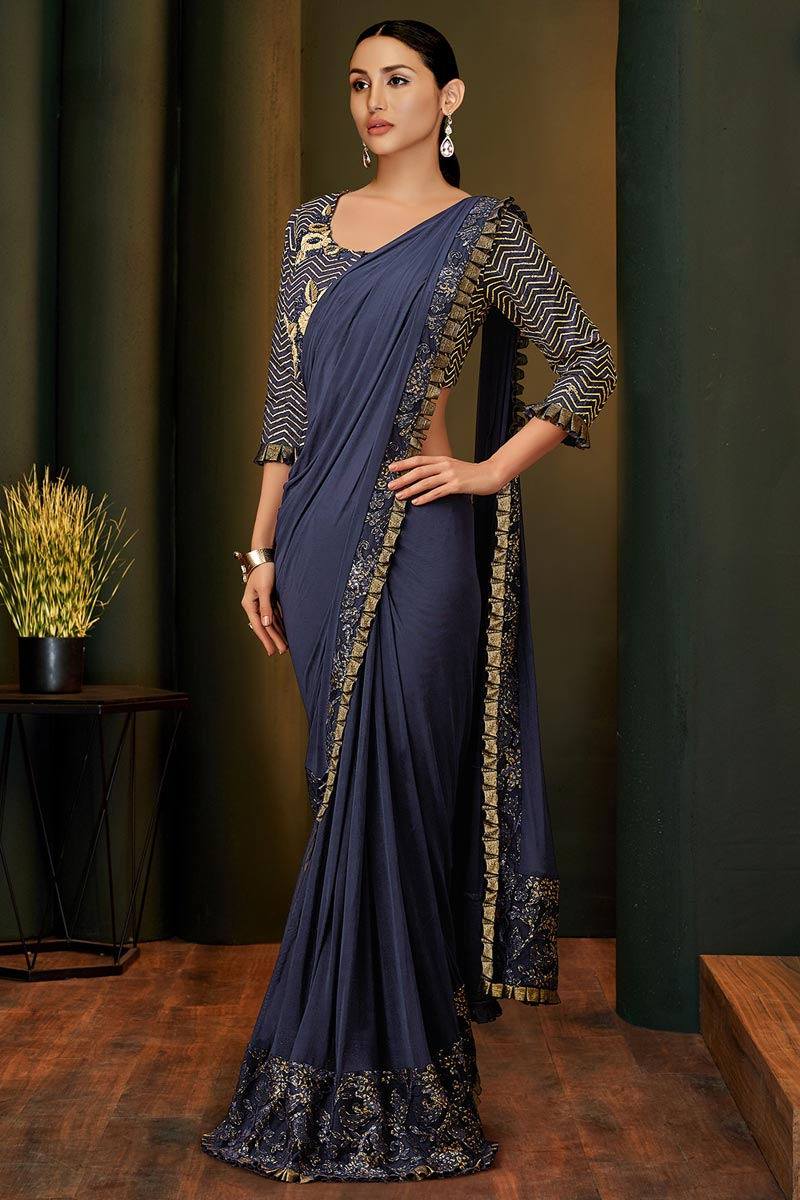 Party Style Navy Blue Color Designer Ready To Wear Saree In Lycra and Net Fabric