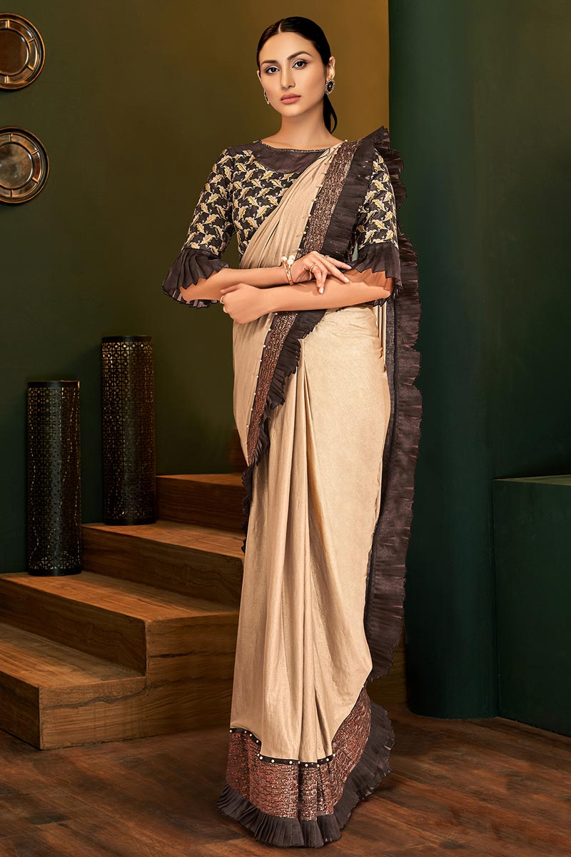 Party Style Lycra Fabric Designer Beige Color One Minute Saree